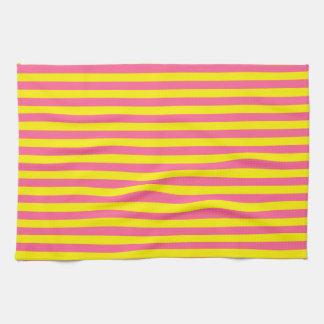 Rayas amarillas y rosadas toalla de cocina