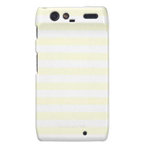 Rayas amplias - blancas y amarillas claras droid RAZR carcasa