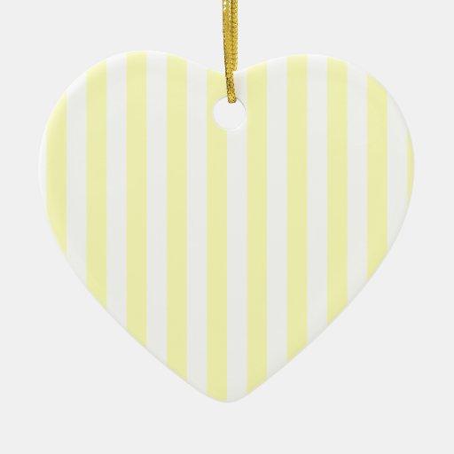 Rayas amplias - blancas y amarillo eléctrico adorno de cerámica en forma de corazón