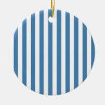 Rayas amplias - blancas y azul de acero ornatos
