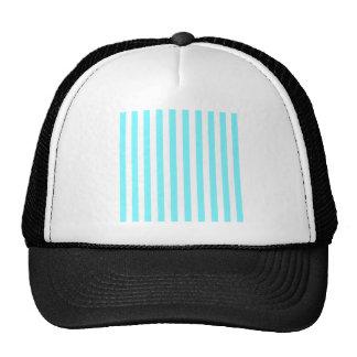 Rayas amplias - blancas y azul eléctrico gorro