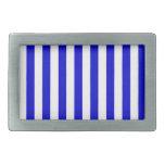 Rayas amplias - blancas y azul medio hebillas cinturon rectangulares