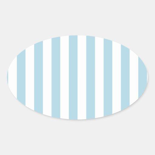 Rayas amplias - blancas y azules claras calcomanías de óvales