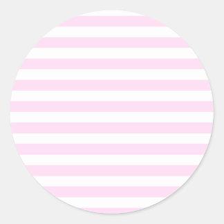 Rayas amplias - blancas y cordón rosado pegatina redonda