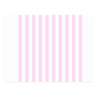 Rayas amplias - blancas y cordón rosado tarjeta postal