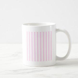 Rayas amplias - blancas y cordón rosado taza básica blanca