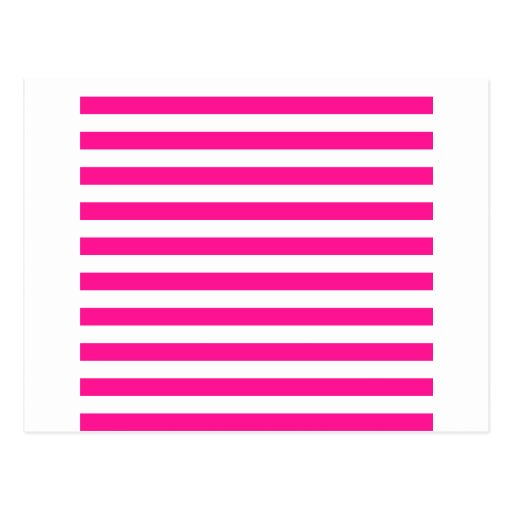 Rayas amplias - blancas y de color rosa oscuro tarjeta postal