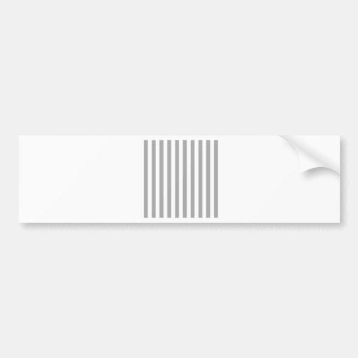 Rayas amplias - blancas y gris oscuro pegatina de parachoque