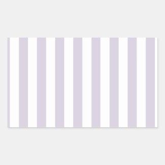Rayas amplias - blancas y lavanda lánguida rectangular pegatinas