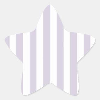 Rayas amplias - blancas y lavanda lánguida calcomanías forma de estrellaes personalizadas