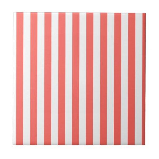 Rayas amplias - blancas y rojo en colores pastel azulejos cerámicos
