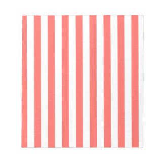 Rayas amplias - blancas y rojo en colores pastel libretas para notas