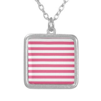 Rayas amplias - blancas y rosa oscuro pendientes personalizados