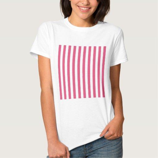Rayas amplias - blancas y rosa oscuro playeras