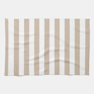 Rayas amplias - blancas y vainilla oscura toallas de mano