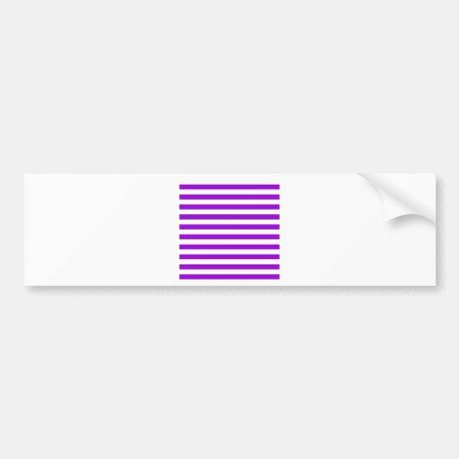 Rayas amplias - blancas y violeta oscura pegatina de parachoque