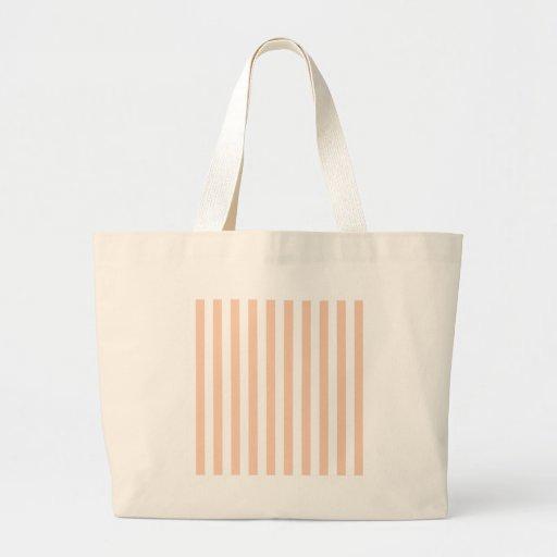 Rayas amplias - blanco y albaricoque bolsa de mano