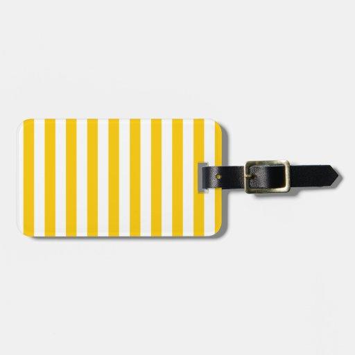 Rayas amplias - blanco y amarillo de la mandarina etiquetas para maletas