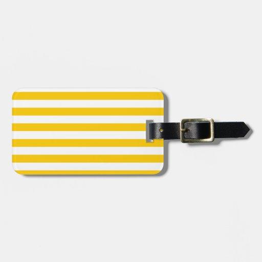 Rayas amplias - blanco y amarillo de la mandarina etiqueta para equipaje
