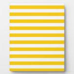 Rayas amplias - blanco y amarillo de la mandarina placas para mostrar