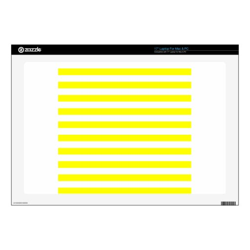 Rayas amplias - blanco y amarillo skins para 43,2cm portátiles