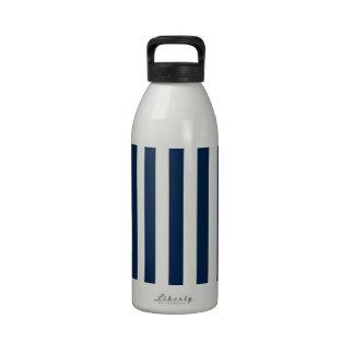 Rayas amplias - blanco y azul de Oxford Botella De Beber