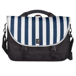 Rayas amplias - blanco y azul de Oxford Bolsas Para Portatil