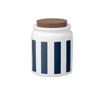 Rayas amplias - blanco y azul de Oxford Jarra Para Caramelo