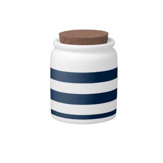 Rayas amplias - blanco y azul de Oxford Jarras Para Caramelos
