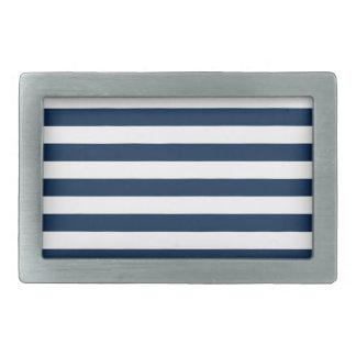 Rayas amplias - blanco y azul de Oxford Hebilla De Cinturon