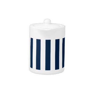 Rayas amplias - blanco y azul de Oxford