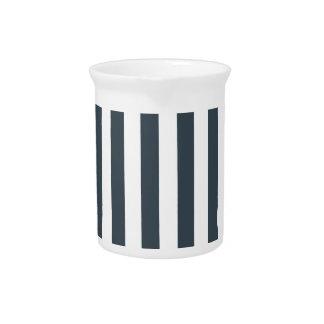 Rayas amplias - blanco y carbón de leña jarra
