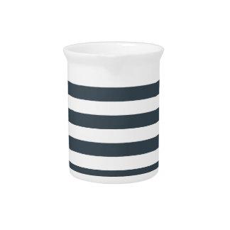 Rayas amplias - blanco y carbón de leña jarras de beber