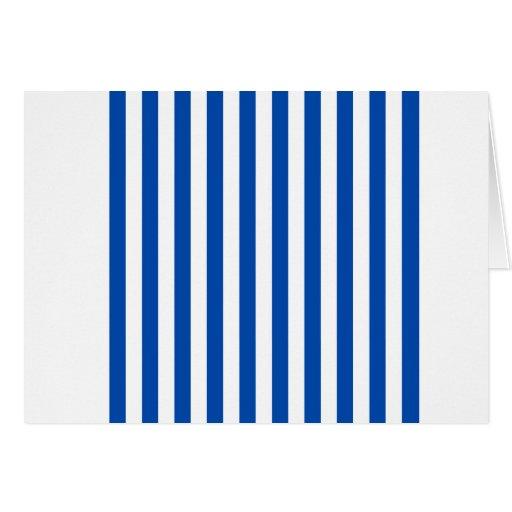 Rayas amplias - blanco y cobalto tarjeta