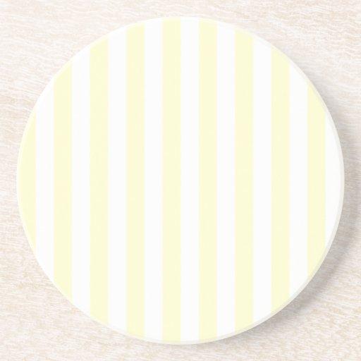 Rayas amplias - blanco y crema posavaso para bebida