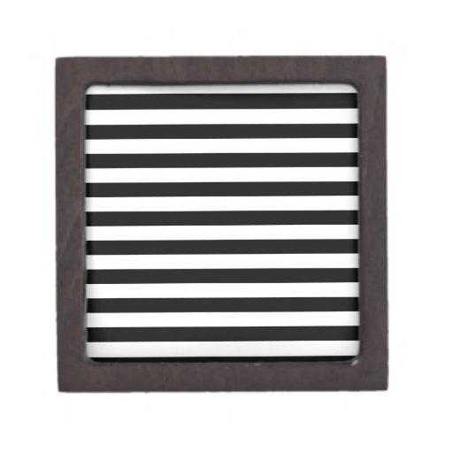 Rayas amplias - blanco y negro caja de recuerdo de calidad
