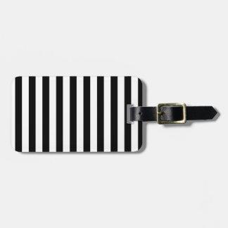 Rayas amplias - blanco y negro etiqueta para equipaje