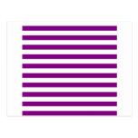 Rayas amplias - blanco y púrpura postal
