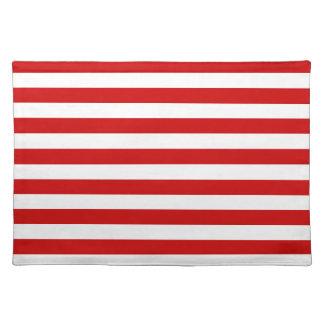 Rayas amplias - blanco y rojo de los BU Mantel
