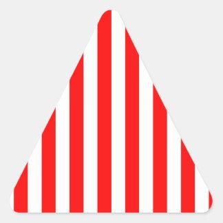 Rayas amplias - blanco y rojo pegatina triangular