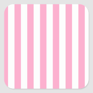 Rayas amplias - blanco y rosa del clavel pegatina cuadrada