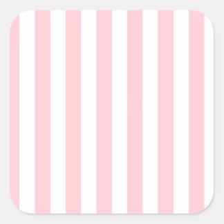 Rayas amplias - blanco y rosa pegatina cuadrada