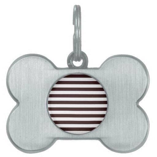 Rayas amplias - blanco y sello Brown Placas Mascota