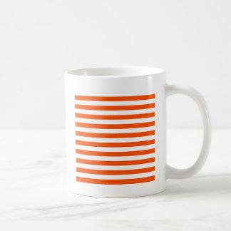 Rayas amplias - blanco y Tangelo Tazas De Café