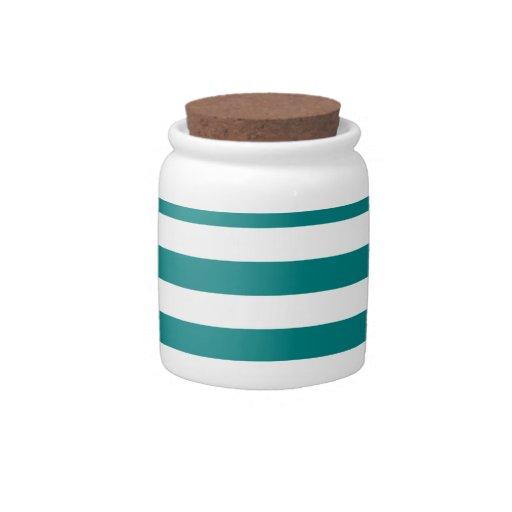 Rayas amplias - blanco y trullo tarro de cerámica para dulces