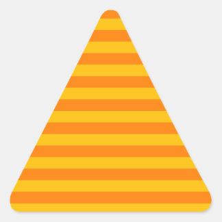 Rayas amplias horizontales - naranja y ámbar pegatinas trianguloes