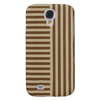 Rayas amplias simples de V&H - de color caqui y Br Funda Para Galaxy S4