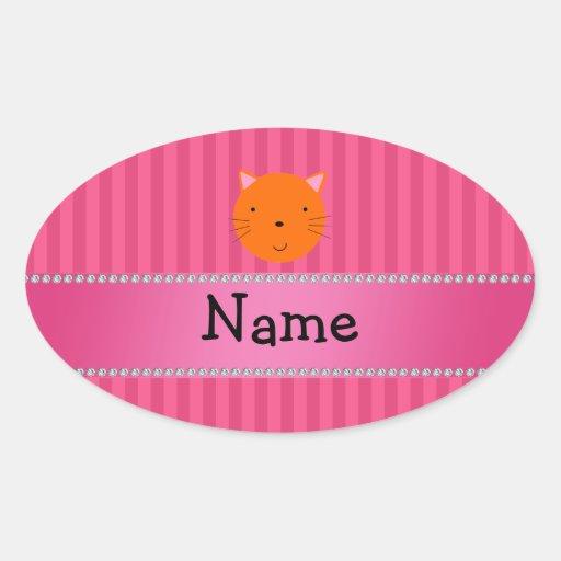 Rayas anaranjadas conocidas personalizadas del pegatina de oval
