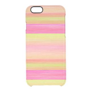 Rayas anaranjadas coralinas amarillas de la funda clearly™ deflector para iPhone 6 de uncommon