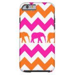 Rayas anaranjadas de Chevron de los elefantes de Funda De iPhone 6 Tough